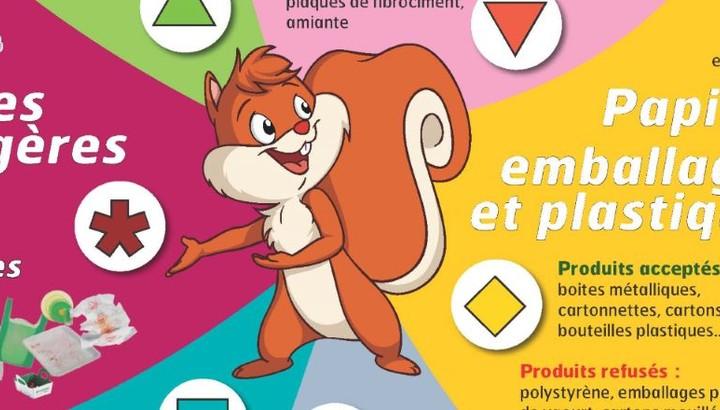 Mascotte écureuil du tri des déchets