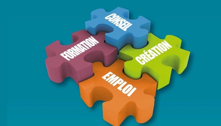 Puzzle marqué emploi conseil formation et création