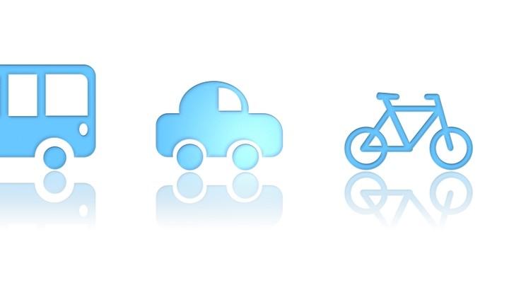 Dessin de bus voiture vélo et piéton