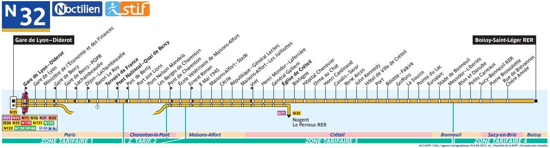 Plan du bus Noctilien 32
