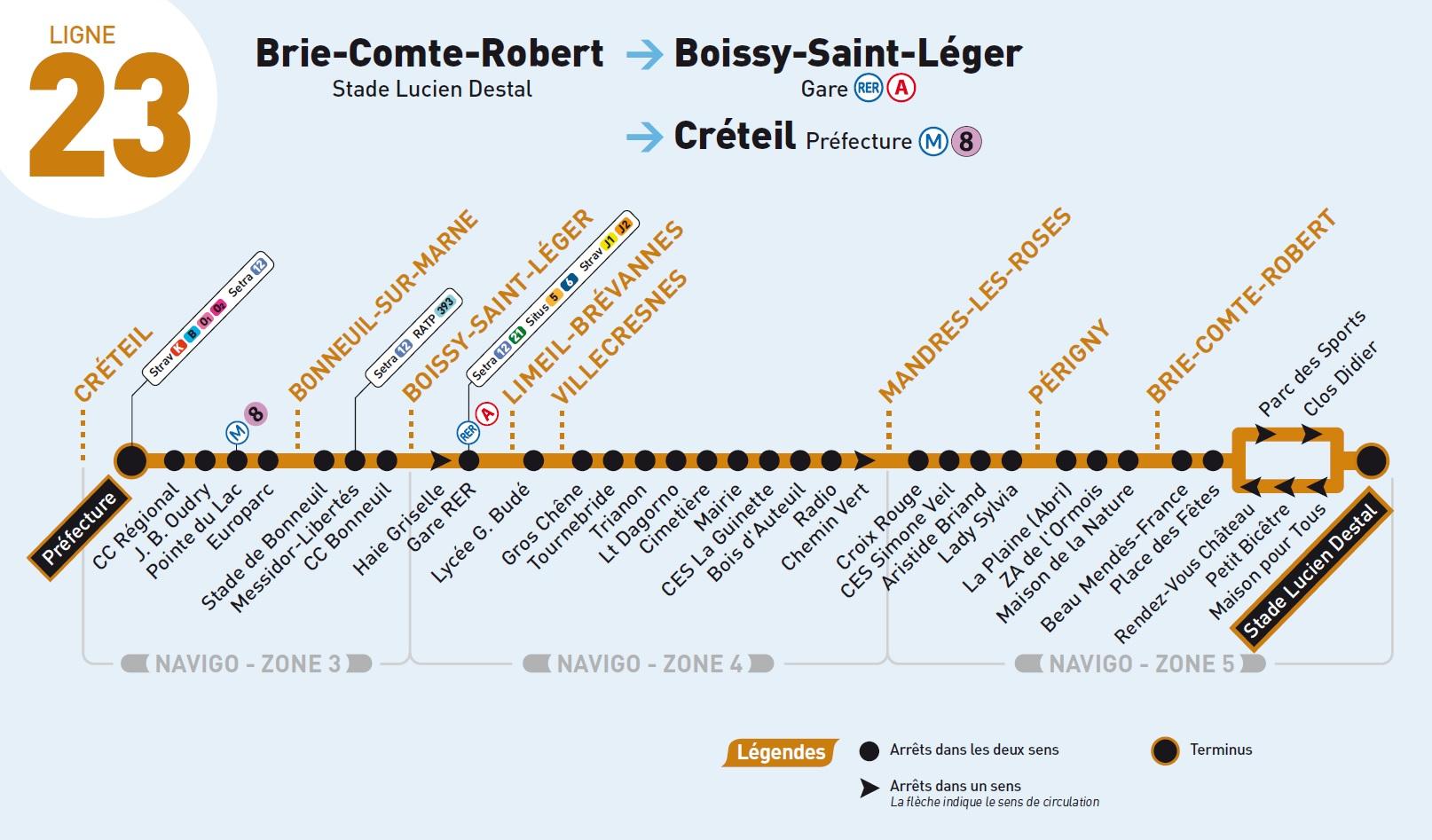 Plan du bus 23 Transdev