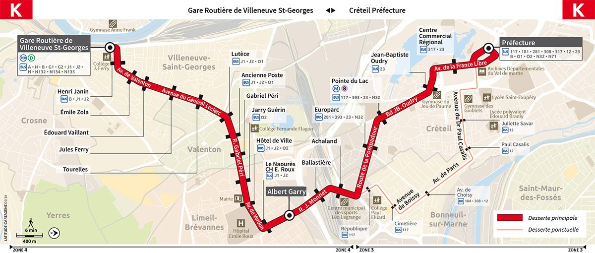 Plan du bus K Transdev
