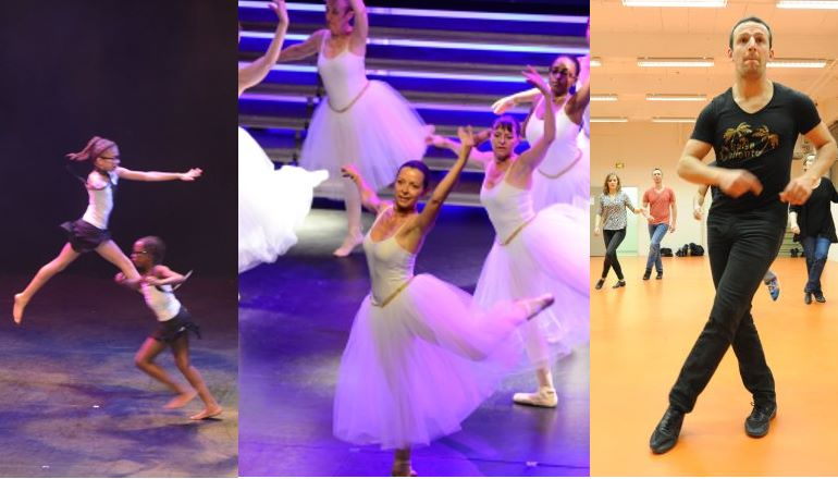 MOntage avec danseuses classiques et danseurs modernes