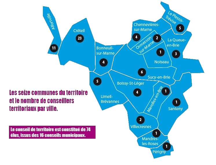 Carte du territoire T11 Grand Paris sud est avenir