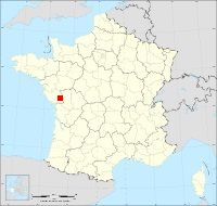 Carte de France situant Cezais à l'ouest en Vendée