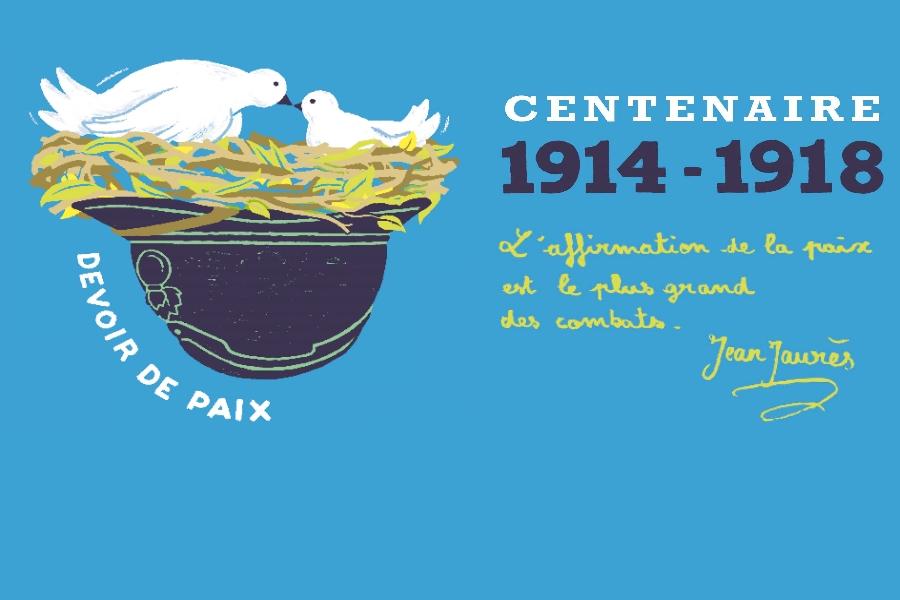 Centenaire 1914-1918 Colombes posées sur un casque de soldat, iscription devoir de paix Jean Jaures