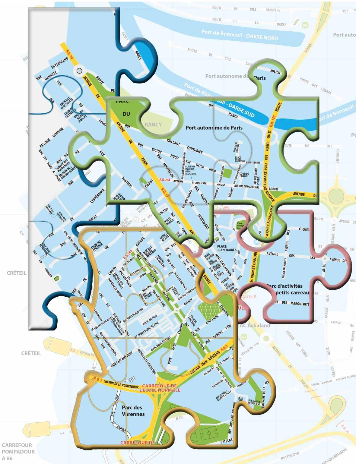 Ville de Bonneuil forme de puzzle